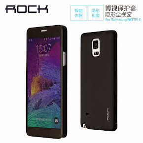 Rock Smart UI APP Transparent View Flip Case For Samsung Galaxy Note 4
