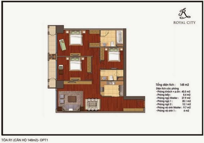 mặt bằng căn hộ 148m2 tòa R1 Royal City