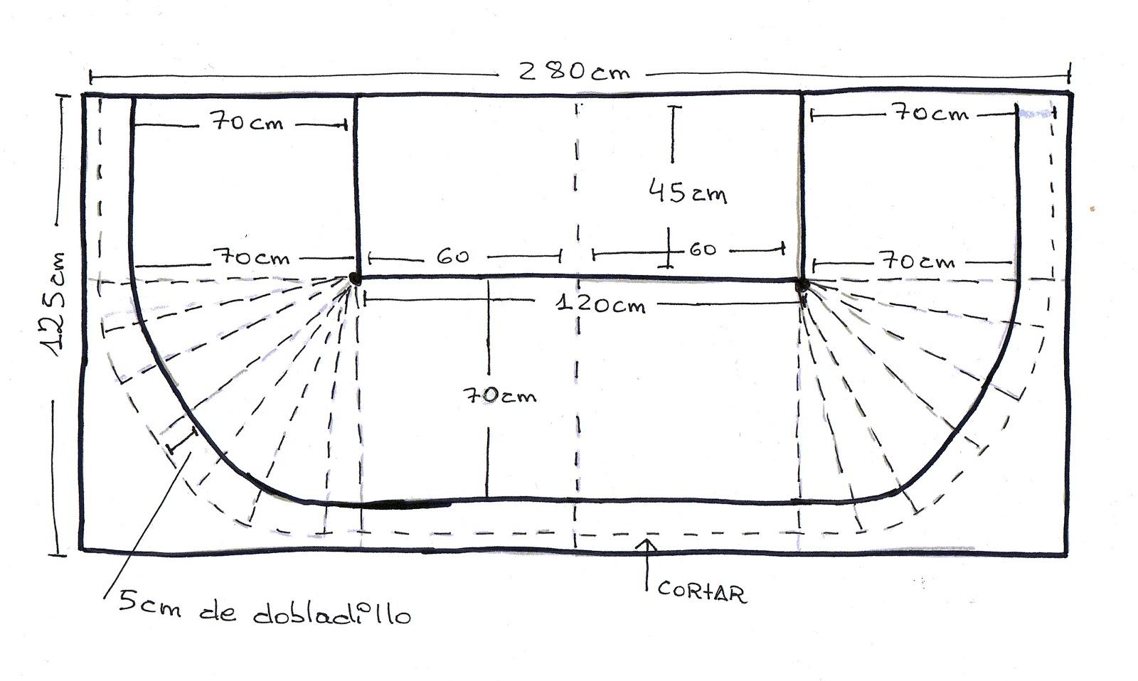 Patrones de costura falda de capa para camilla rectangular for Falda mesa camilla carrefour