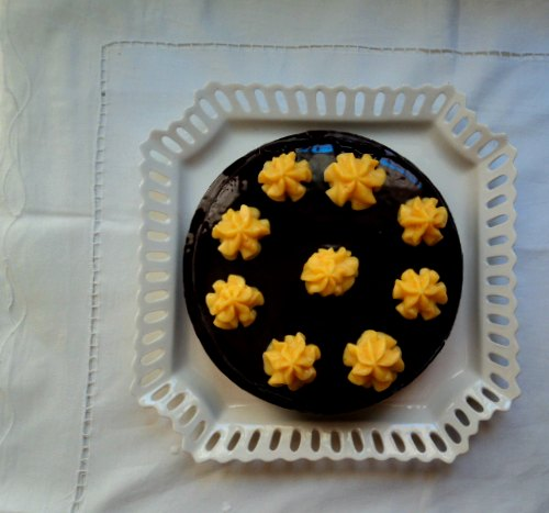 Tarta de chocolate y orange curd