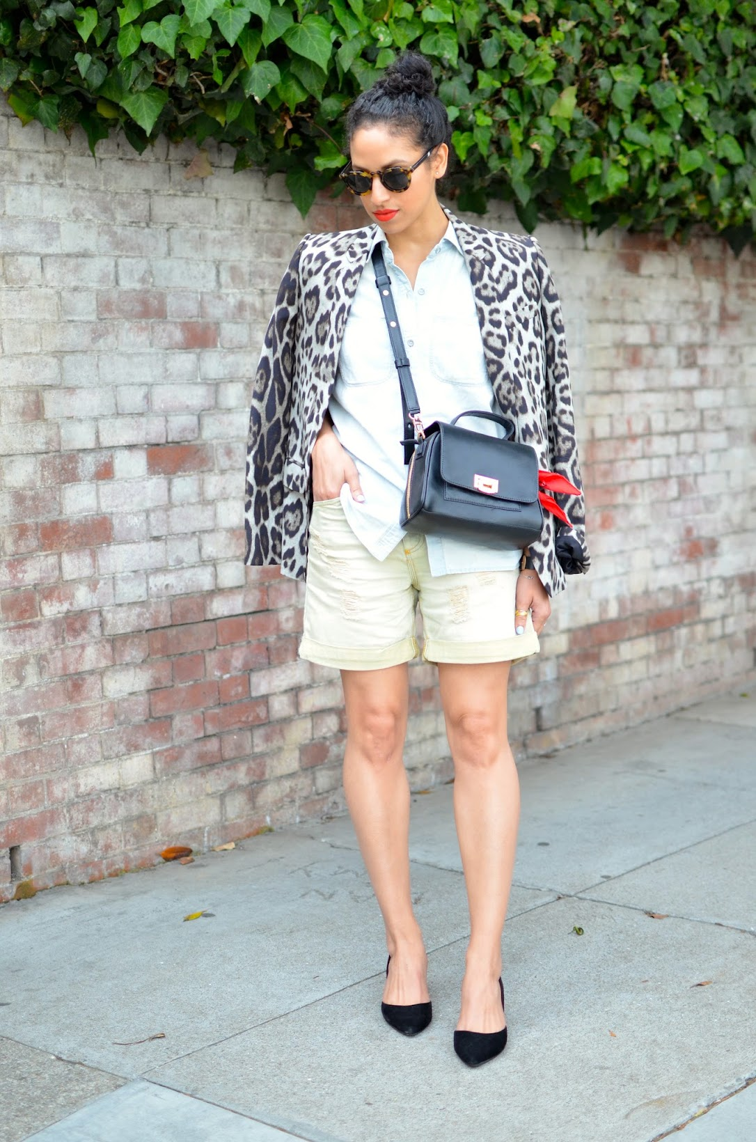 leopard blazer, Ectu bag, curly hair, short curly hair, denim on denim, denim, chambray, black d'orsay pumps, red bandana