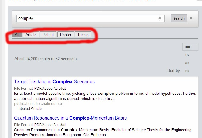 thesis search bar in header