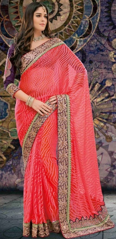 Brasso Peach Designer Embroidery Saree with Unstitched Blouse
