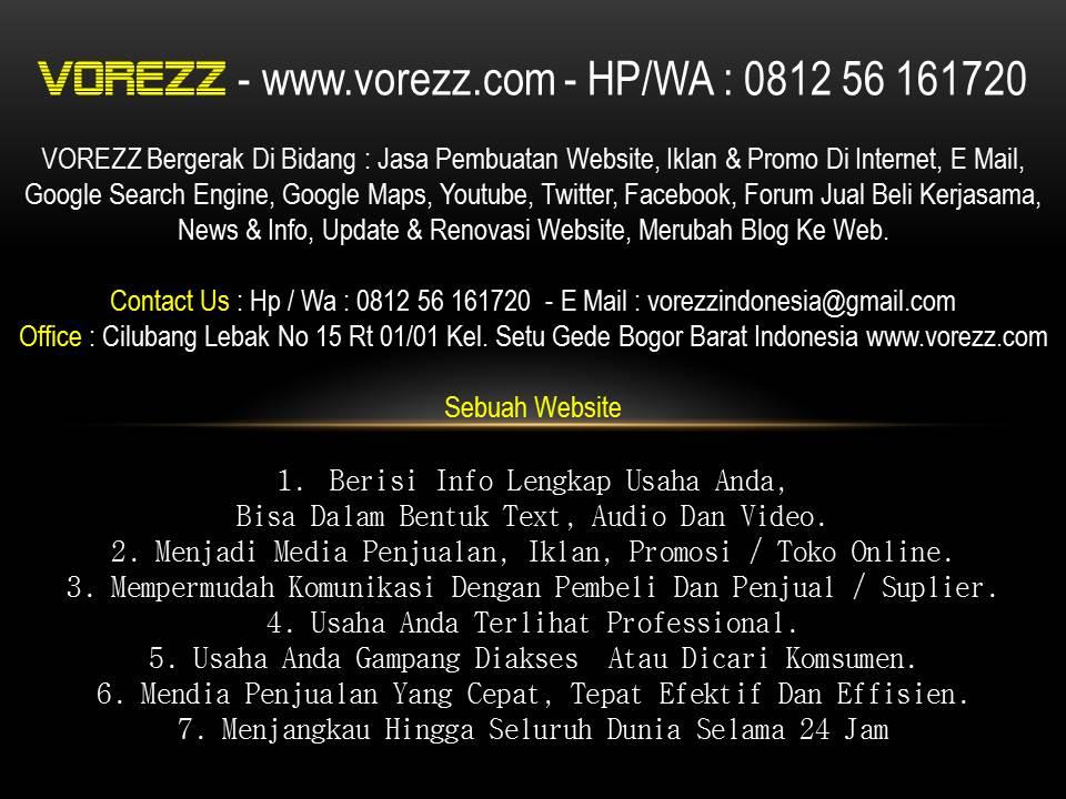VOREZZ - Jasa Pembuatan Website Bogor,Jakarta, Depok, Tangerang Bekasi, Banten, Cikarang