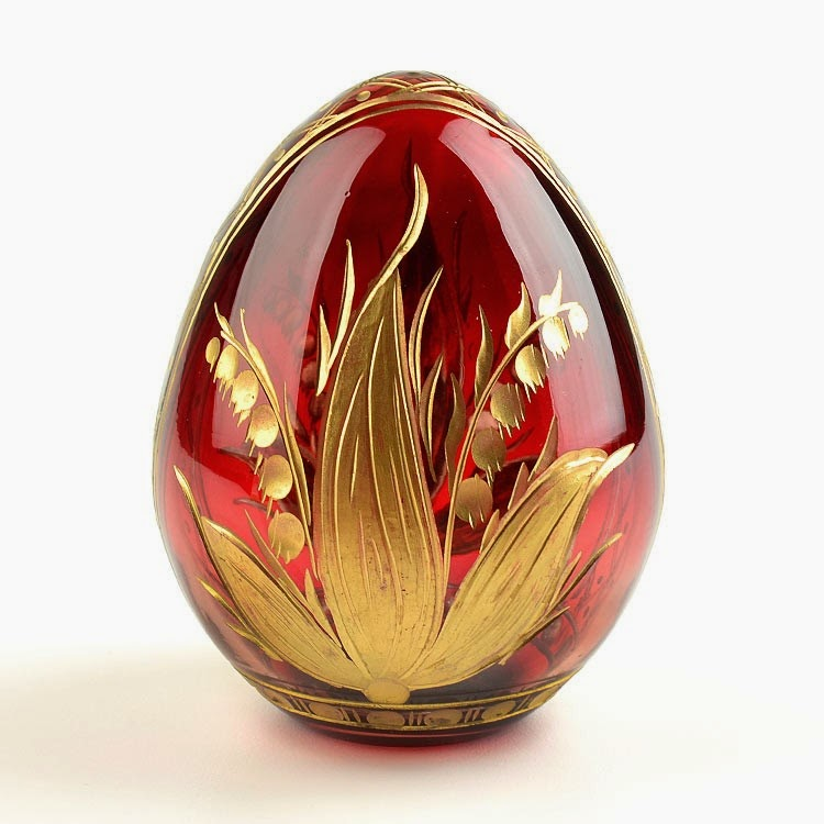 Red Botanical Crystal Russian Egg