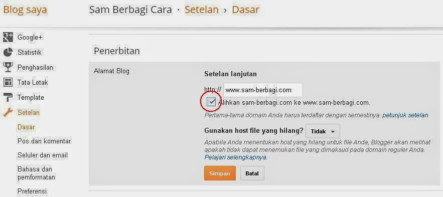 Merubah Domain Blogspot ke Domain Pribadi
