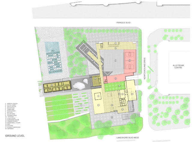 Map: Hotel in the Garden—Exhibition Place Site Plan, Nov. 30, 2009 by Maragna Architect Inc./gh3, for HKHotels; Exhibition Place