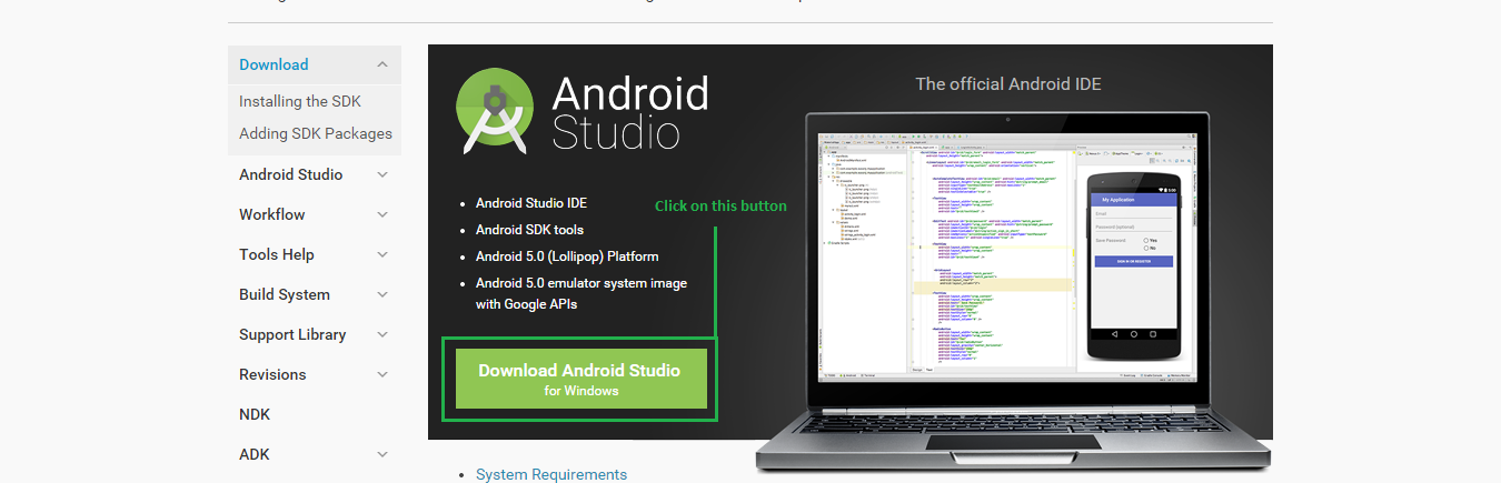 Step 1 to Download Android Studio