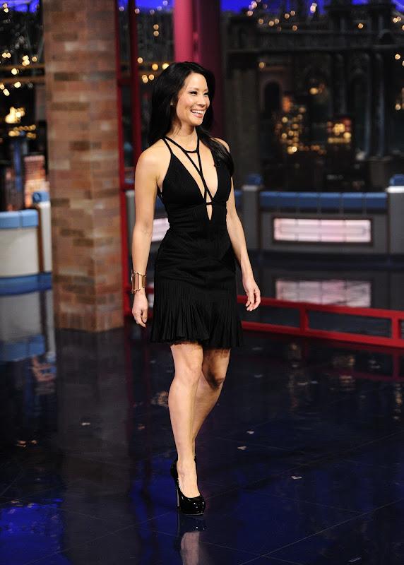 Lucy Liu wearing a spicy hot black dress