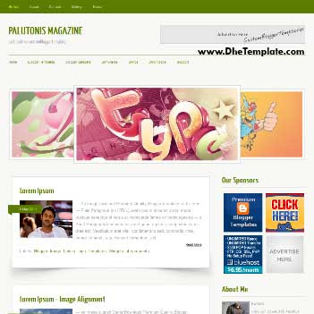 Palutonis Magazine blogger template. blogger template adapted from wordpress theme. blogger template with featured image slider. blogger template magazine style