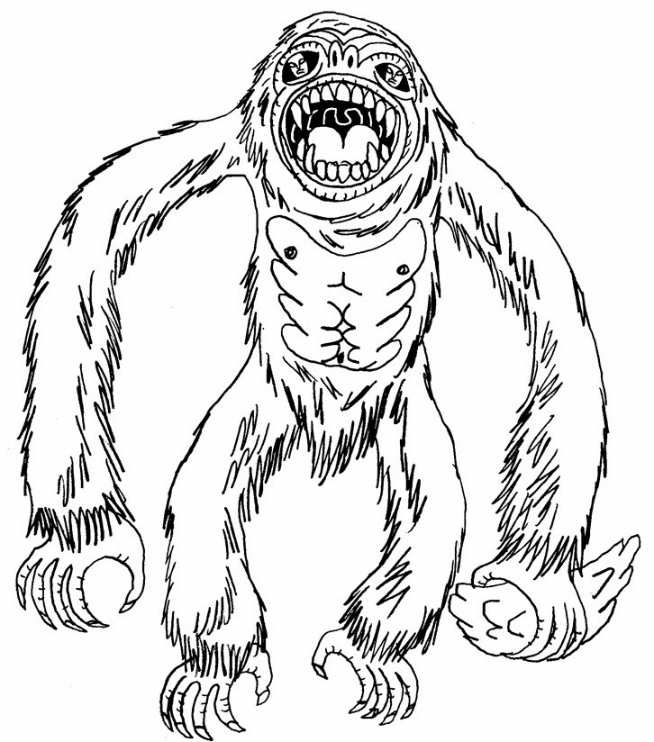 Yeti Coloring Page Sketch Coloring Page