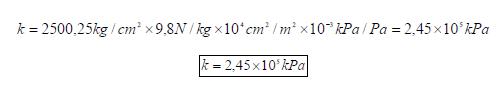 Módulo de elasticidad volumétrico formula en kPa ejercicio 5