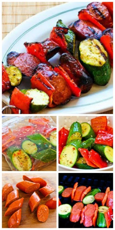 World's Easiest Grilled Zucchini and Sausage Kabobs from KalynsKitchen.com