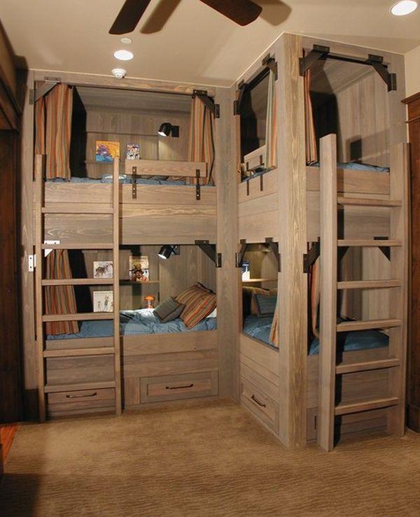 4 camas en un dormitorio dormitorios con estilo - Habitacion para 3 hermanos ...