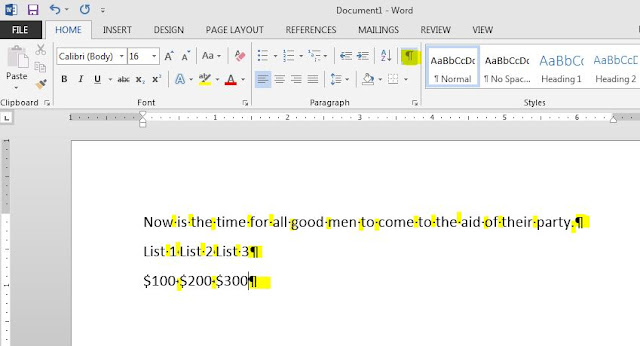 Screenshot - Microsoft Word Show Hide Format Marks