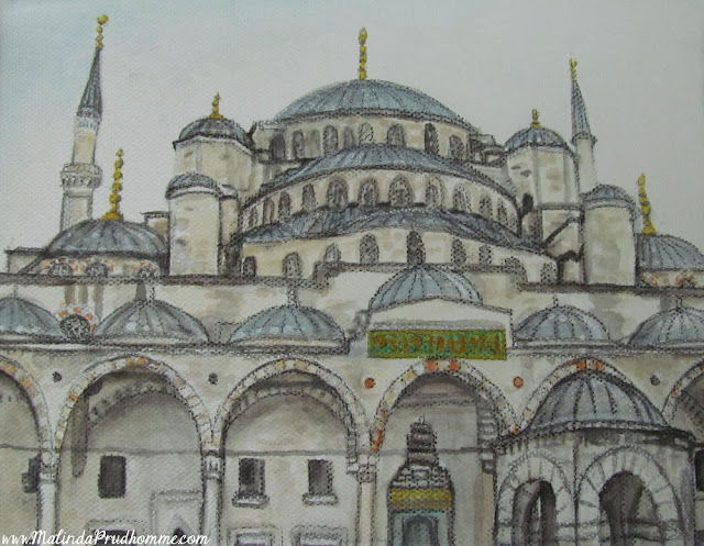 travel artist, mixed media artist, watercolour paintings, travel art, charcoal artist, mixed media art, original paintings, istanbul, blue mosque, turkey
