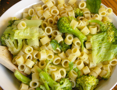 Noodle Salad Ditali Pasta Served Warm With Cooked Broccoli Fresh Romaine Lettuce And Seasoned With Lots Of Lemon Juice Salt And An Abundance Of Pepper