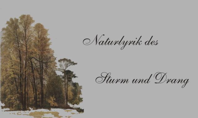 Gedichte Und Zitate Für Alle Sturm Udrang Naturlyrik Jg