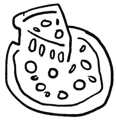 ピザのイラスト モノクロ線画