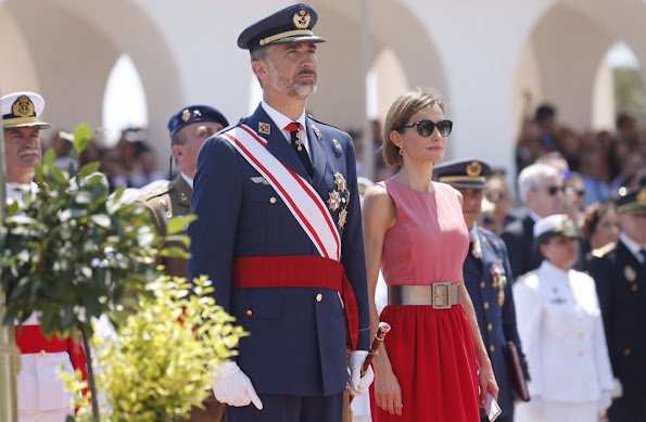 King Felipe VI of Spain and Queen Letizia of Spain attend the delivery of actual employment office at General Air Force Academy