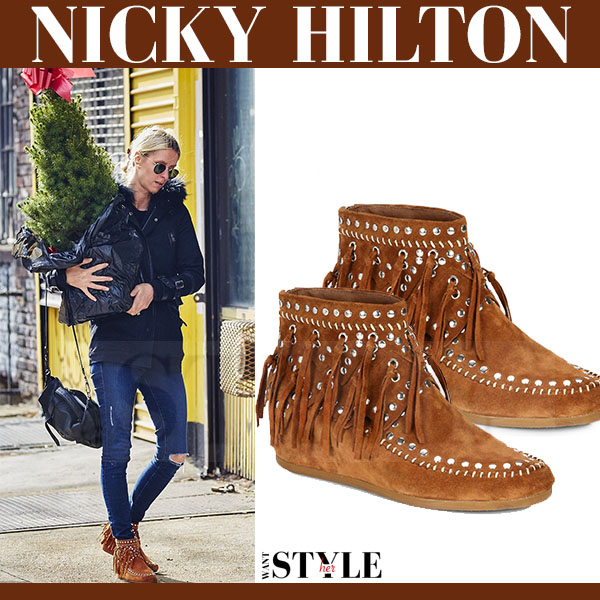 Nicky Hilton in brown suede fringed embellished ankle boots ash spirit what she wore winter streetstyle
