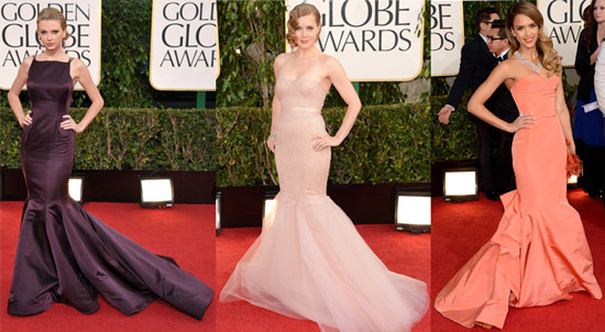 Taylor Swift (Donna Karan Atelier), Amy Adams (Marchesa) and Jessica Alba (Oscar de la Renta)