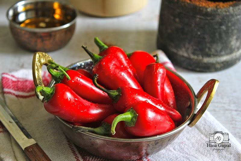Lal Mirch ka Achaar (Stuffed Red Chili Pickle)