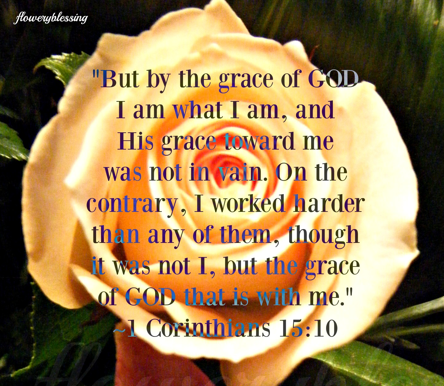 """Flowery Blessing: """"But by the grace of GOD I am what I am, and His ..."""