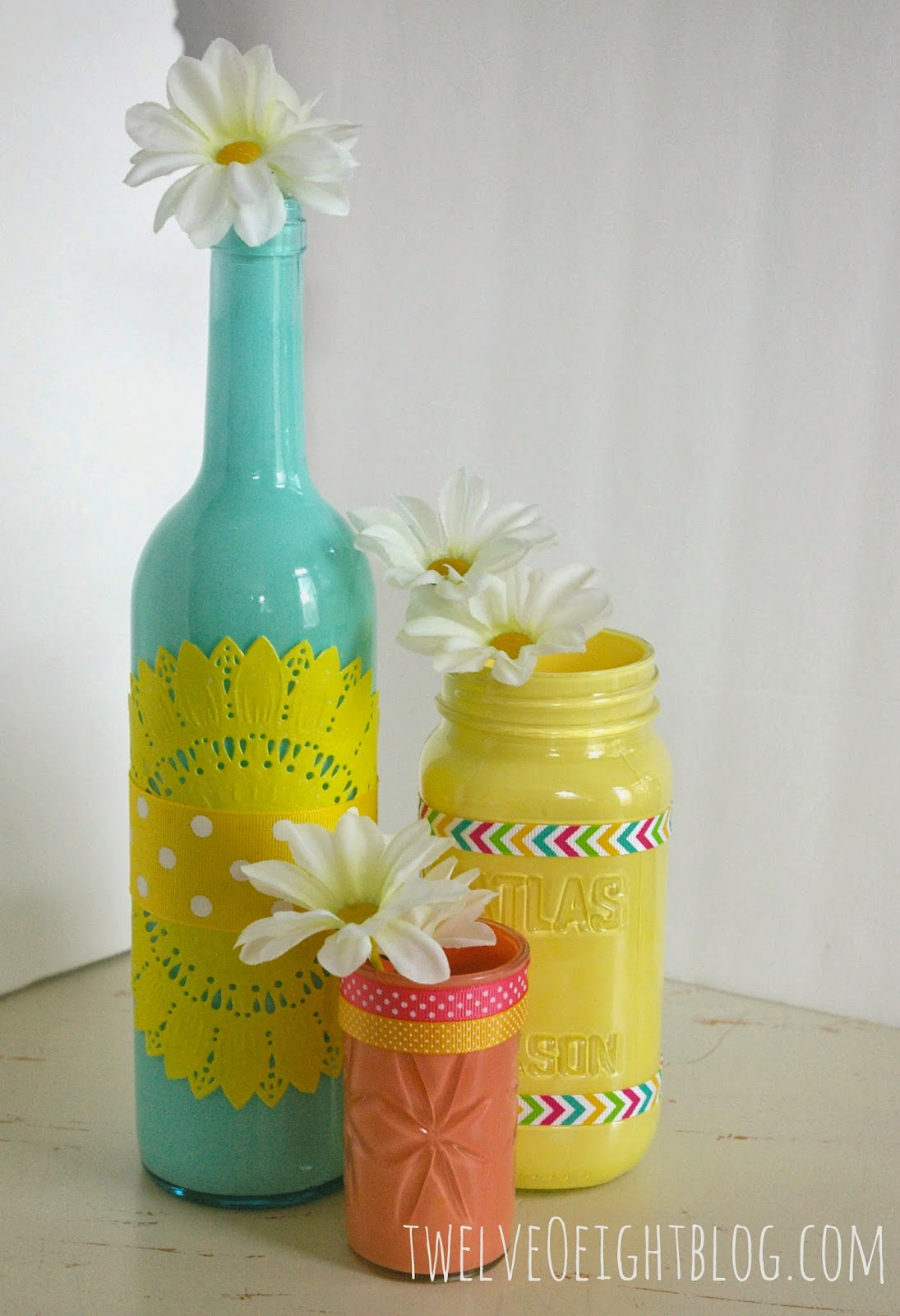 Painted Glass Bottle Vases on Spring Daffodil Craft