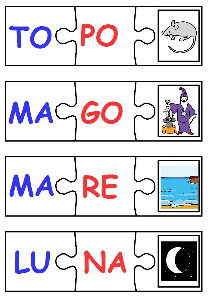 Comunicaazione puzzle di parole for Sillabe da stampare e ritagliare