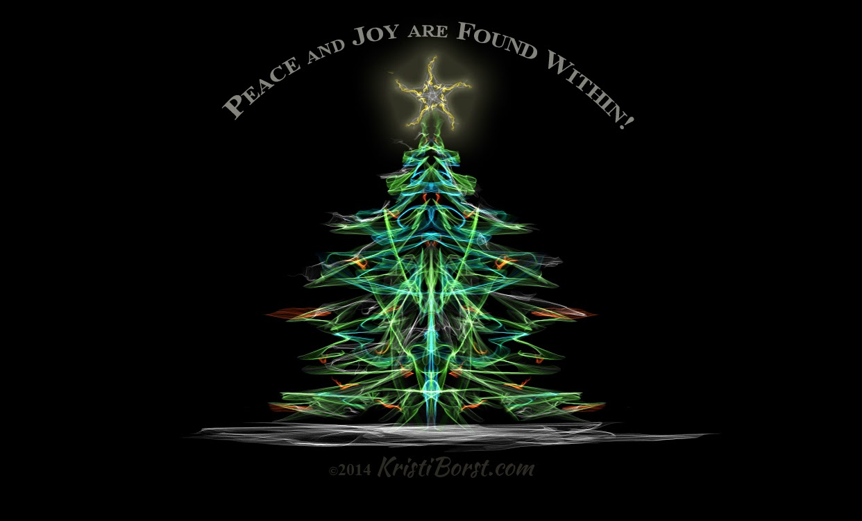 Kristi's artwork of a yule tree with inner and outer light