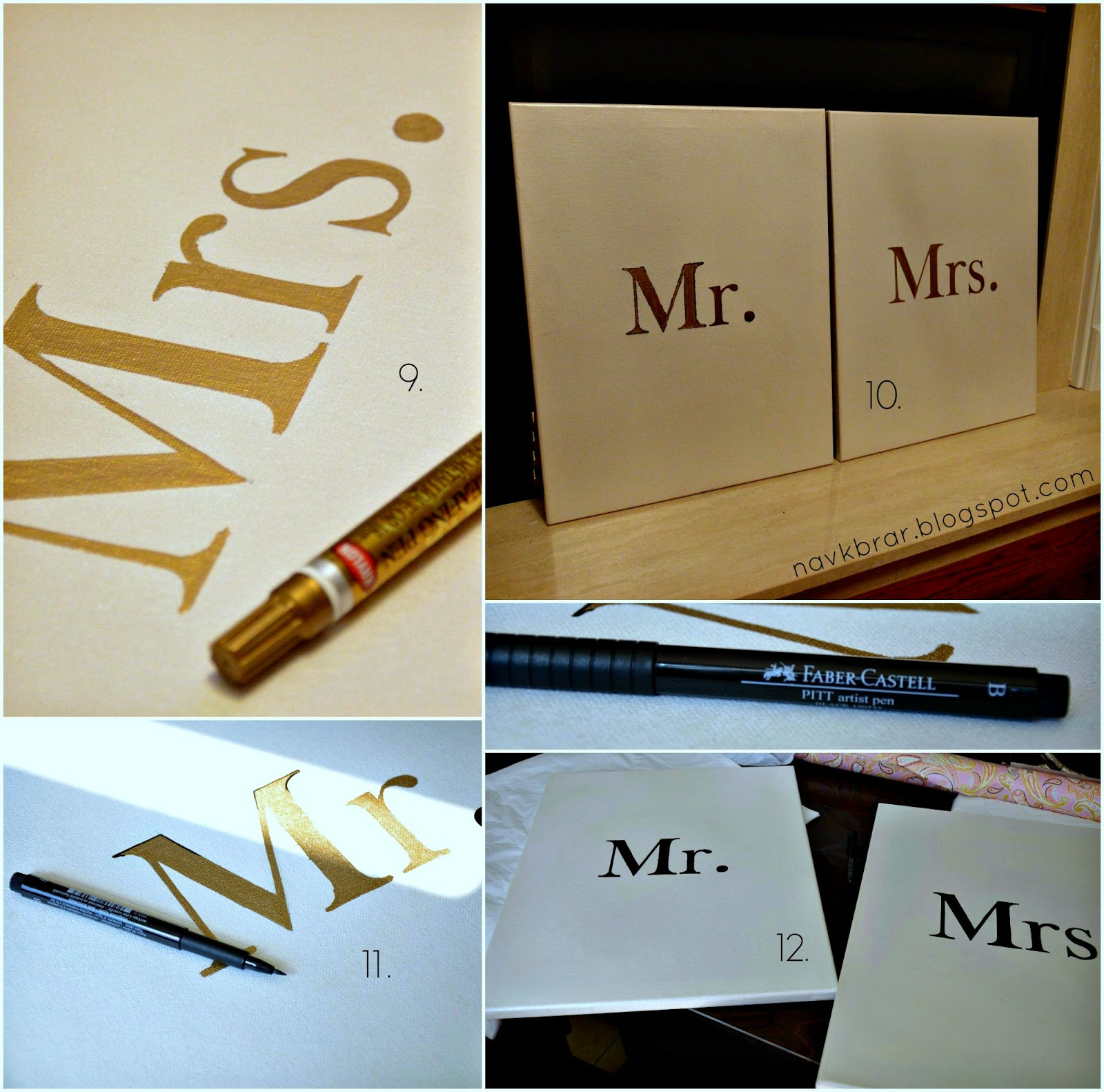 Mr and Mrs DIY signs black and white inspired by Pinterest