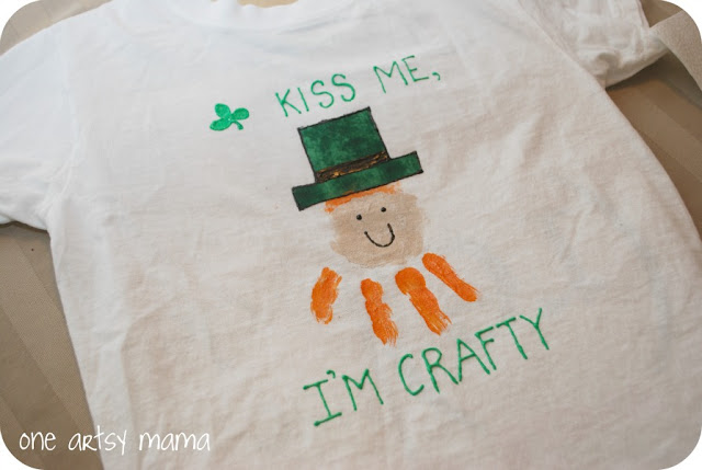 Handprint Leprechauns with paint on bags and shirts