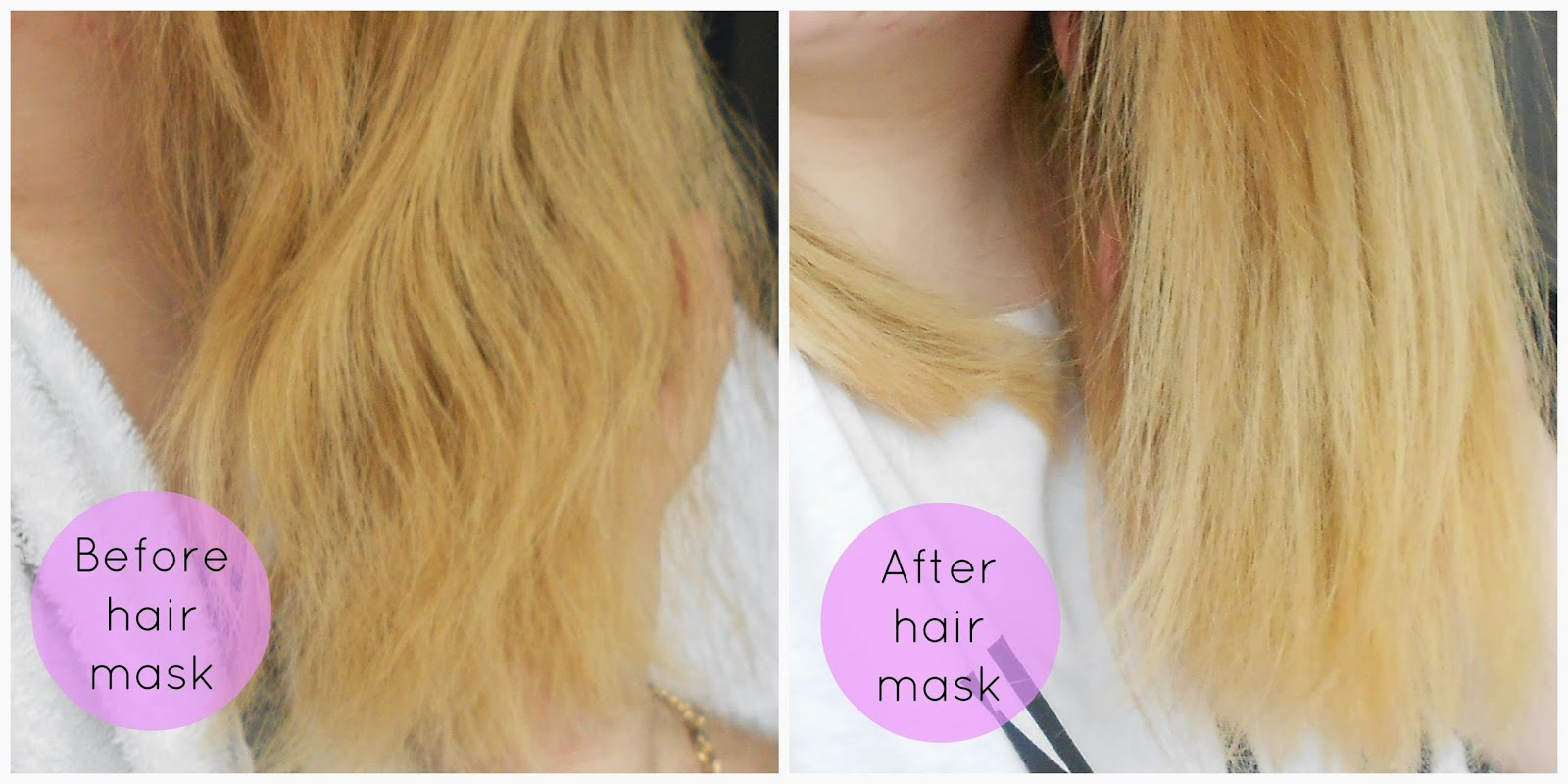 before and after homemade diy hair mask