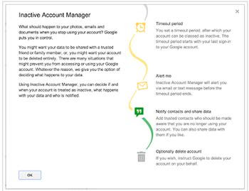 Inactive Account Manager in Google Account settings  page - what happens digital assets when you when we die or become incapacitated