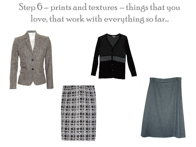Four pieces of clothing in black and white: a tweed blazer, a plaid skirt, a Fair Isle cardigan, and a tweed skirt