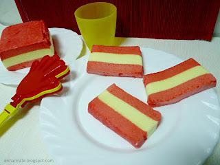 receta de nubes con los colores de la bandera española Enharinate