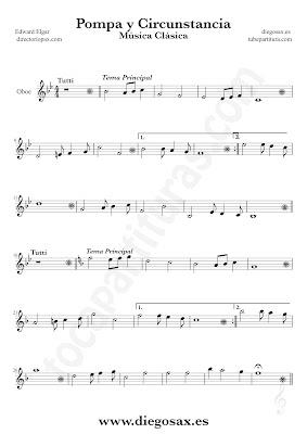 Tubepartitura Pompa y Circunstancia de Edward Elgar partitura de Oboe canción de Música Clásica