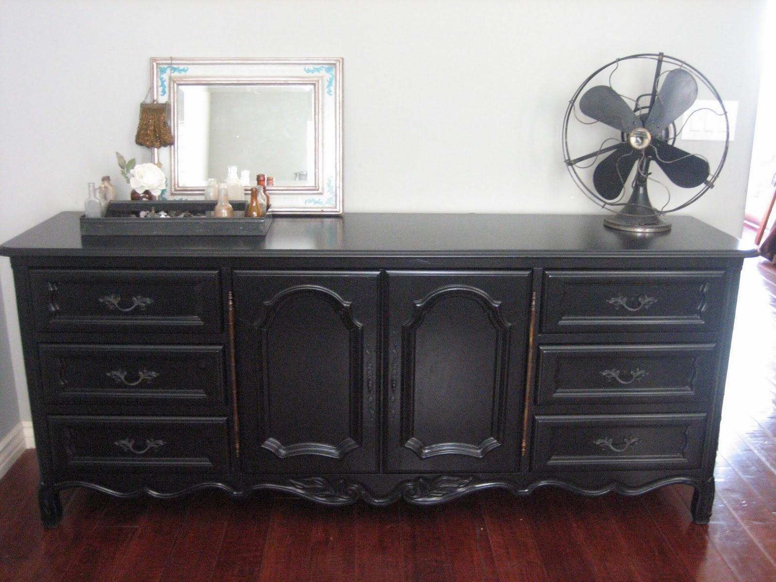 Black shabby chic furniture - Black Dresser A Bed
