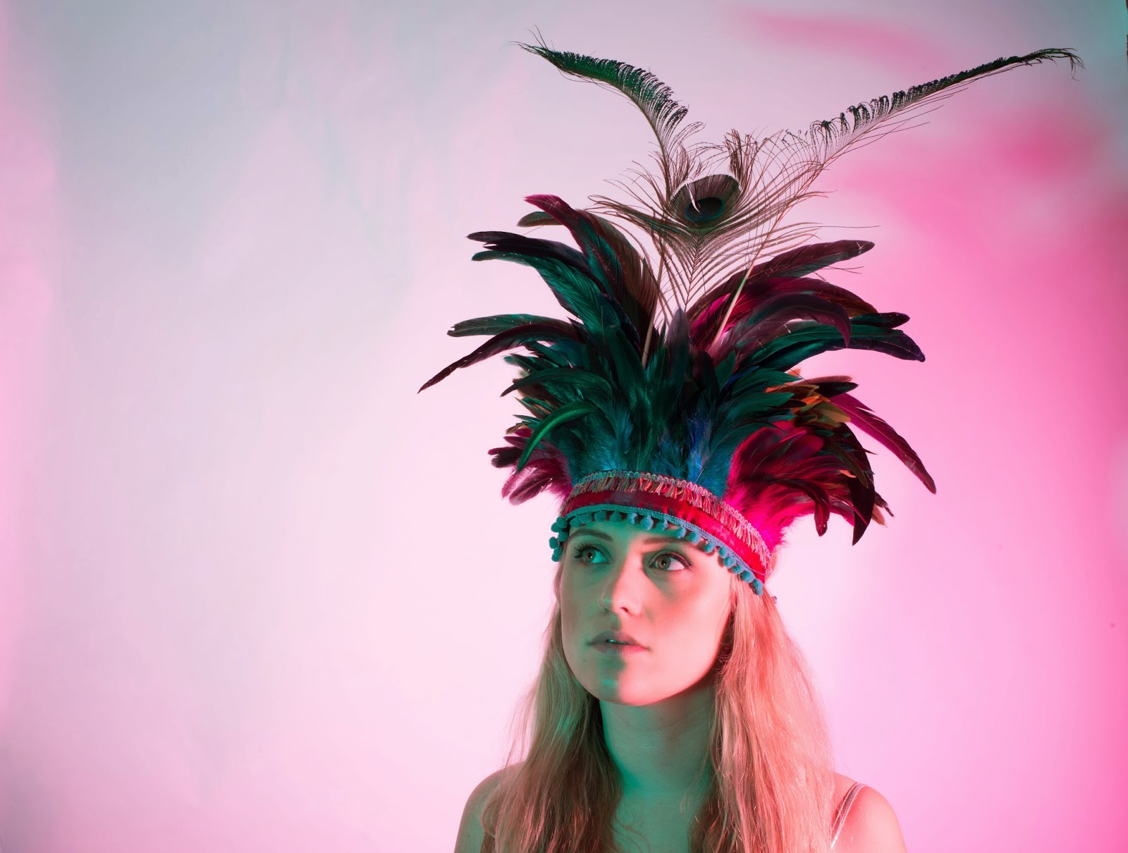 dulcie's feathers, feather headdress, peacock feather, festival, costume, Beth Randall