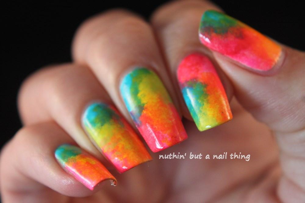 Neon sponged nail art