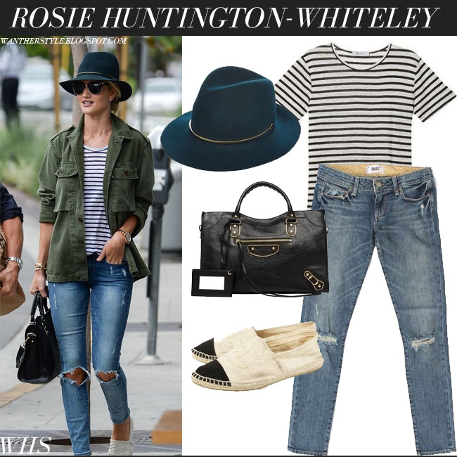 Rosie Huntington-Whiteley in army green shirt, striped navy Alexander Wang top, distressed Paige Denim Skyline jeans and wool hat Janessa Leone Stephen what she wore june 27 inspiration