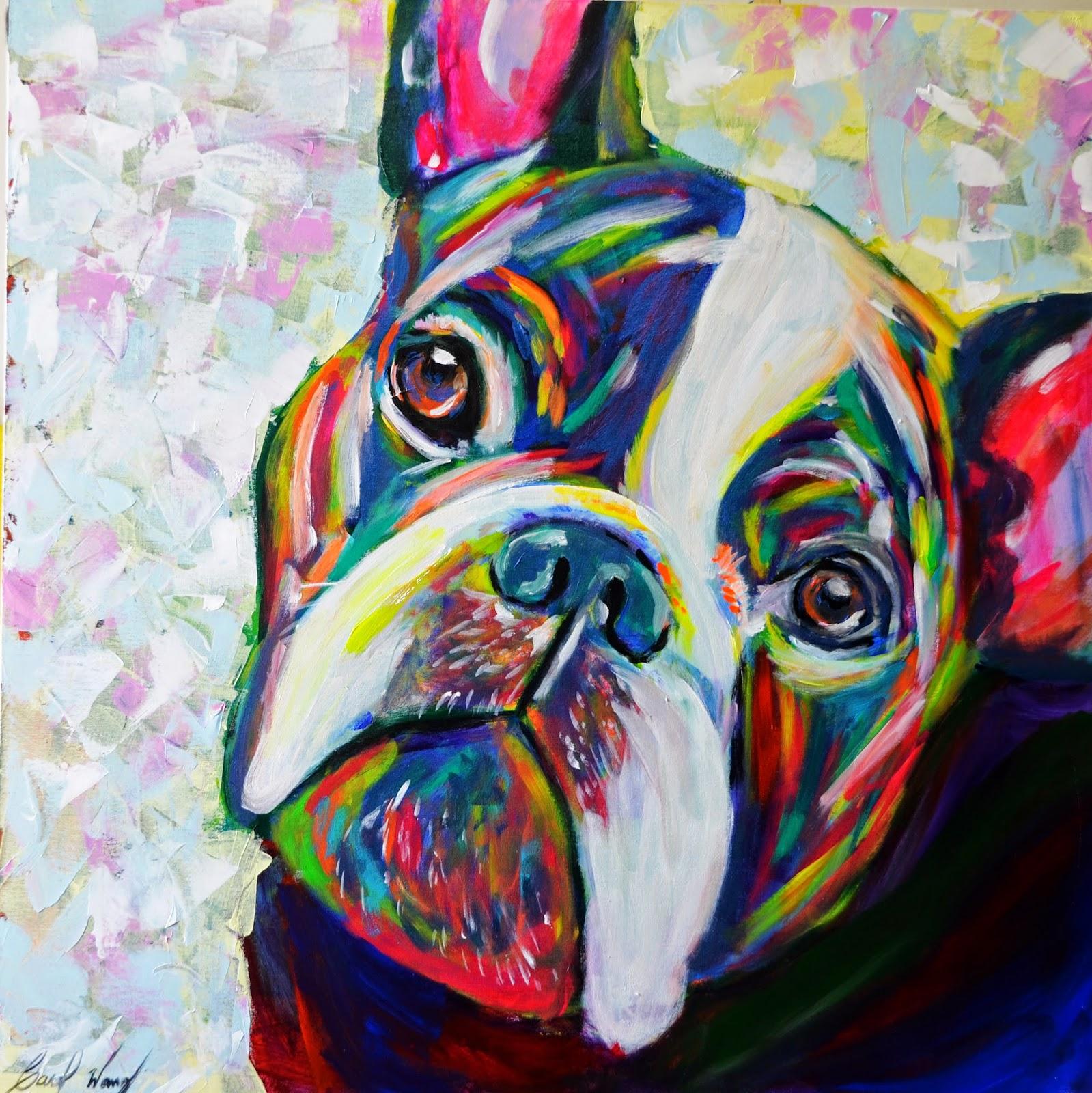 Carolina wang arte bulldog frances arte pintura for Pintura acrilica moderna