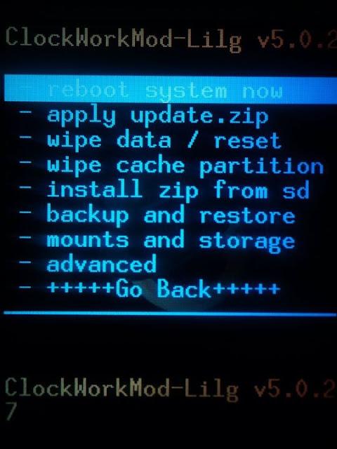 Screenshots Of Latest Clockwork Mod Lilg Recovery v5.0.2.7 On Samsung ...
