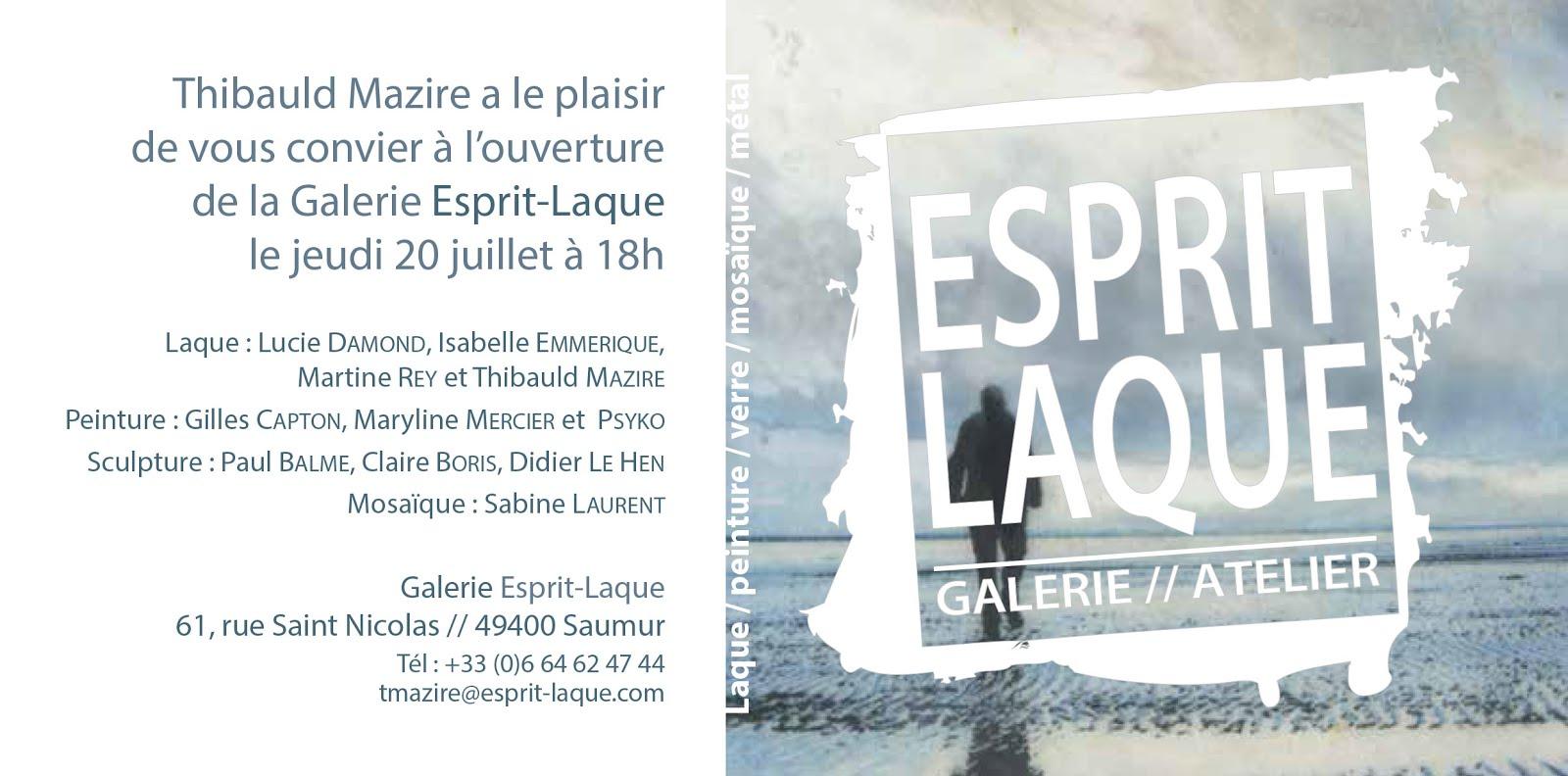 """NOUVEAU À SAUMUR : CAPTON PARMI LES ARTISTES INVITÉS À L'OUVERTURE DE LA GALERIE """"ESPRIT-LAQUE"""""""