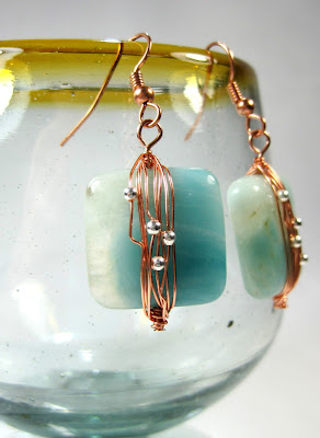 Wire Wrapped Copper and Stone Earrings