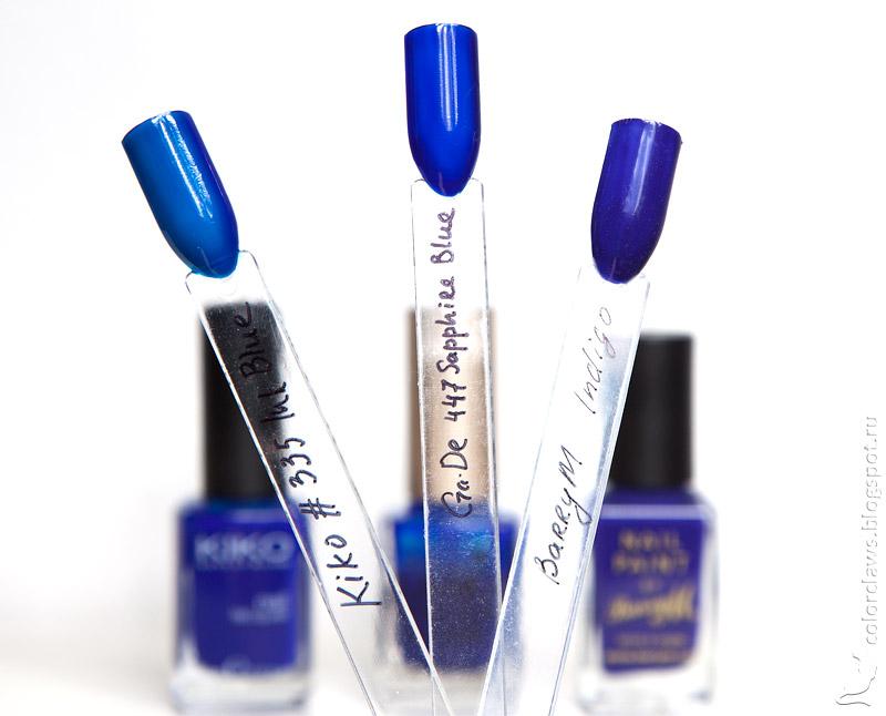 Kiko #335 Ink Blue. Ga-De #447 Sapphire Blue, Barry M Indigo