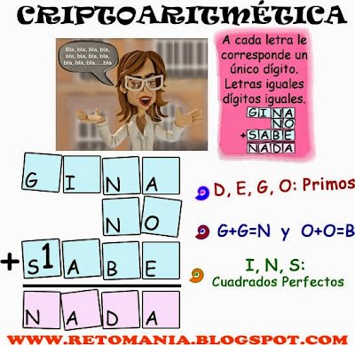 Alfamética, Criptoaritmética, Criptosumas, Criptogramas, Juego de Letras, Descubre los números, Problemas matemáticos, Desafíos matemáticos, Retos matemáticos