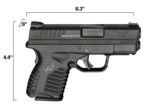 XDS 3.3 .45 Measurements, xds 3.3 size, xds size, .45 carry pistol,