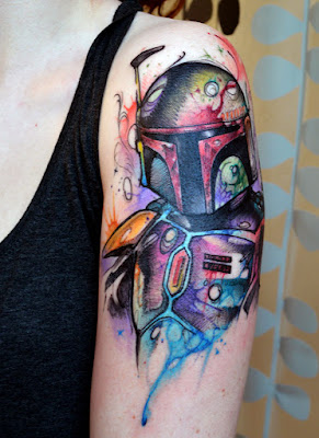 Watercolor Mandalorian Star Wars Tattoo